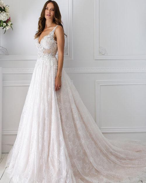 Булчинска рокля от дантела, свободно падаща булчинска рокля, Дантелена сватбена рокля, Сватбена рокля от сатен и дантела