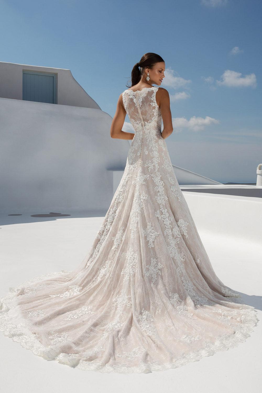 Булчинска рокля от дантела, булчинска рокля А-линия, Дантелена сватбена рокля