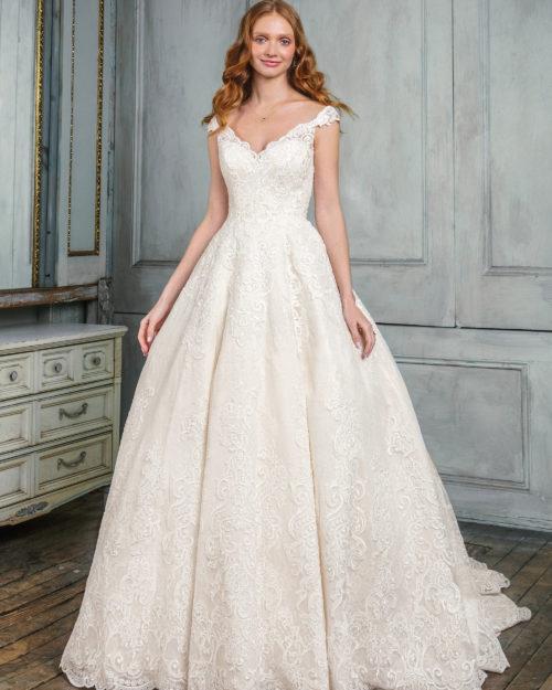 Булчинска рокля от дантела, булчинска рокля принцеса, Дантелена сватбена рокля, Сватбена рокля от сатен и дантела