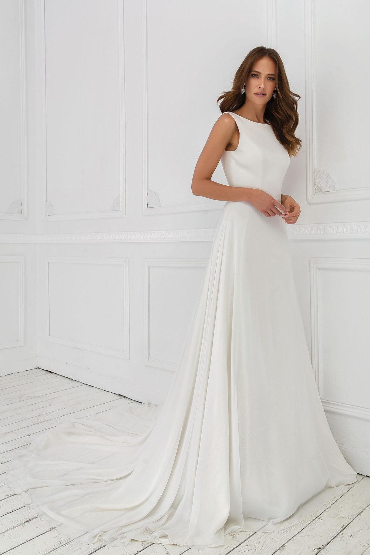 Сватбена рокля от шифон, изчистена сватбена рокля, булчинска рокля от креп