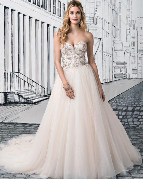 Булчинска рокля принцеса, булчинска рокля със сърцевидно деколте, булчинска рокля с камъни