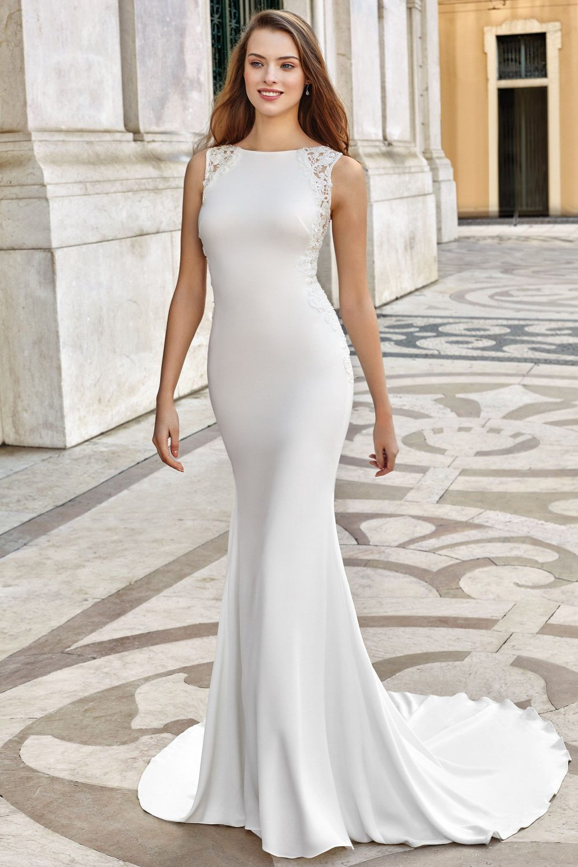 Булчинска рокля ADORE, Булчинска рокля русалка, булчинска рокля от креп, булчинска рокля с красив гръб,