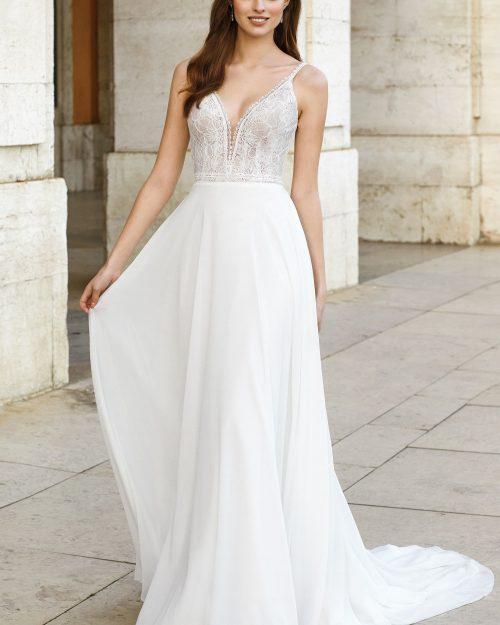 сватбена рокля А линия, Булчинска рокля от шифон, Булчинска рокля от дантела Шантали, Булчинска рокля ADORE,