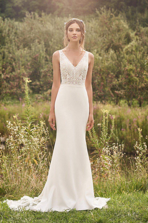 Булчинска рокля русалка с вталена креп пола и бохо дантела - 66123, Бохо сватбена рокля