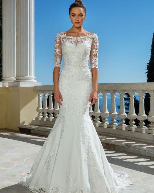 Булчинска рокля русалка, булчинска рокля с дантела, сватбена рокля венецианска дантела, Сватбена рокля с ръкави,
